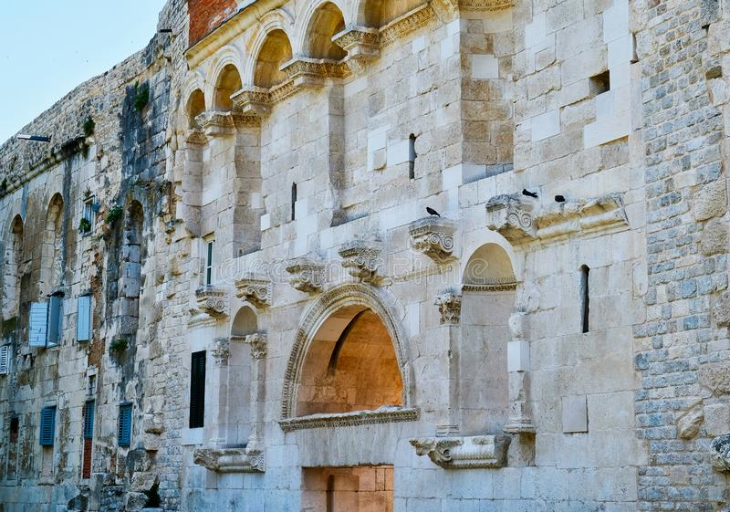 Architecturaal Detail, het Paleis van Diocletian ` s, Spleet, Kroatië stock foto's