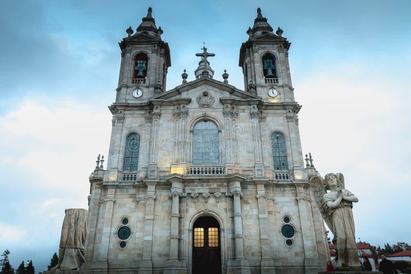 Architecturaal detail van de Basiliek van Onze Dame van Sameiro dichtbij Braga stock foto's