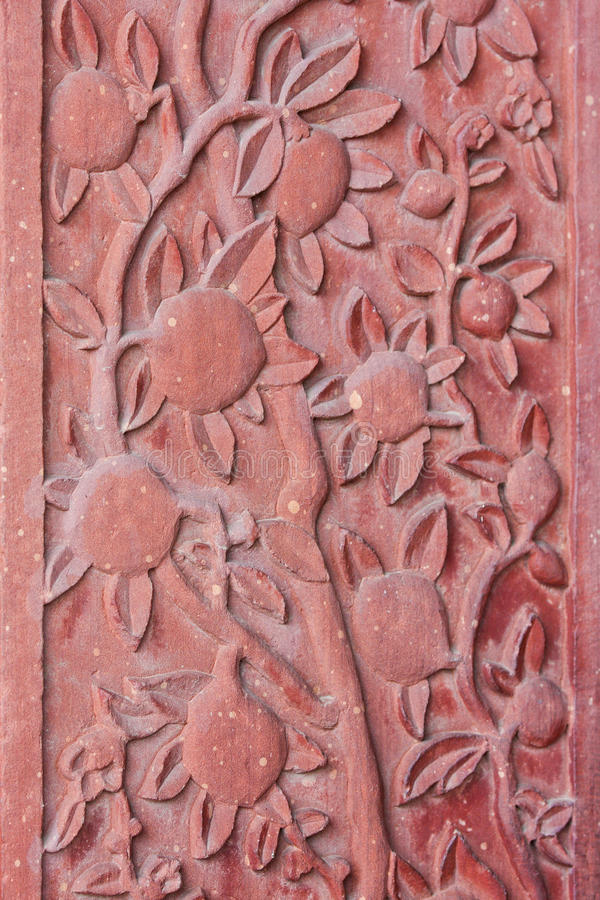 Architecturaal detail van gesneden bloemen royalty-vrije stock afbeelding