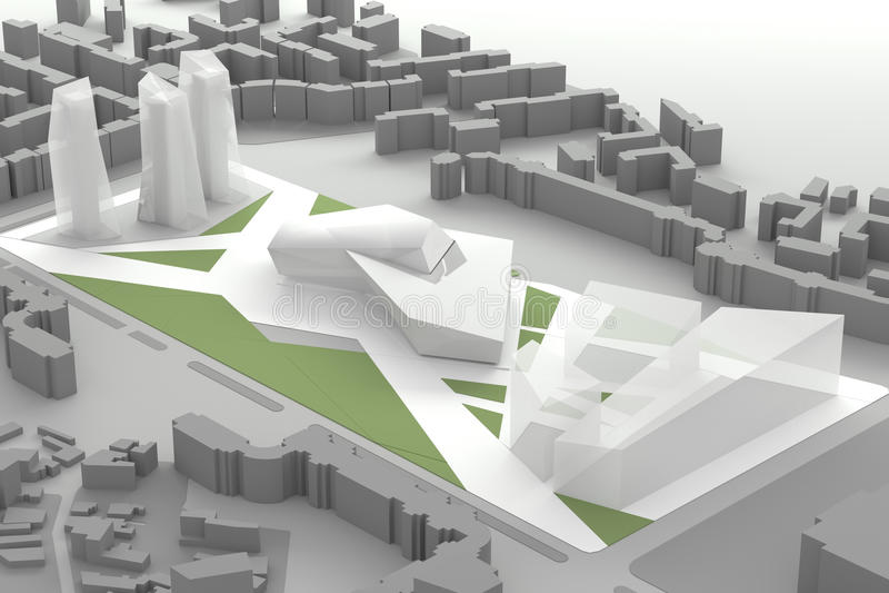 Architecturaal Modelof downtown financial-Stadscentrum vector illustratie