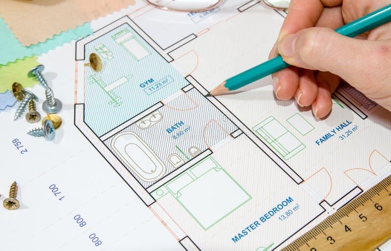 Architecturaal plan met hulpmiddelen stock foto's