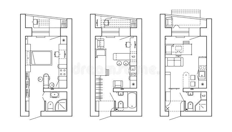 Architecturaal plan van een huis Lay-out van de flat met het meubilair in de tekeningsmening royalty-vrije illustratie