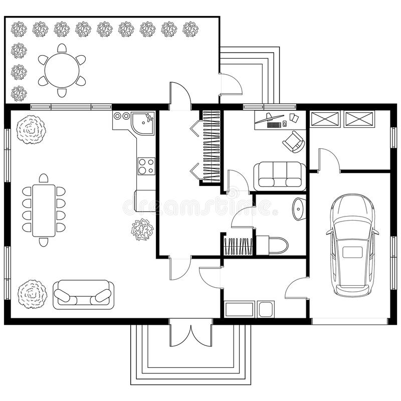 Architecturaal plan van een huis met garage vector for Aggiunta in cima al garage