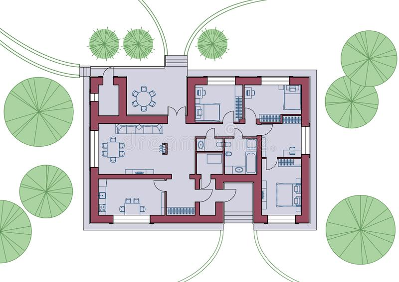 Architecturaal plan van het huis Hoogste mening met meubilair Vector illustratie stock illustratie