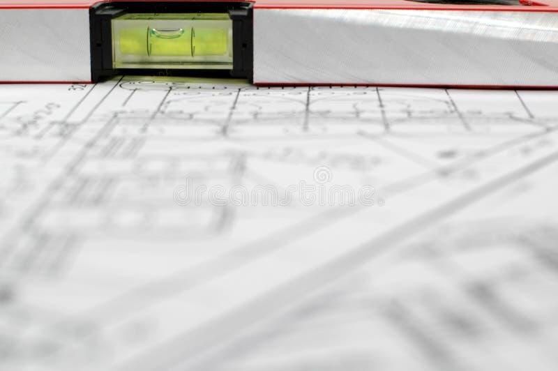 Architecturaal plan van huis stock foto's