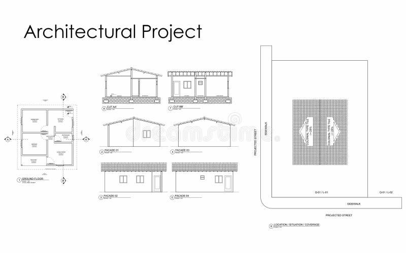 Architecturaal Project met afmetingen stock illustratie