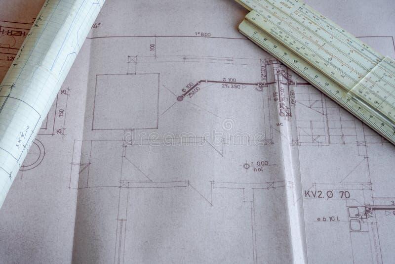 Architecturaal project van een woningbouw royalty-vrije stock afbeelding