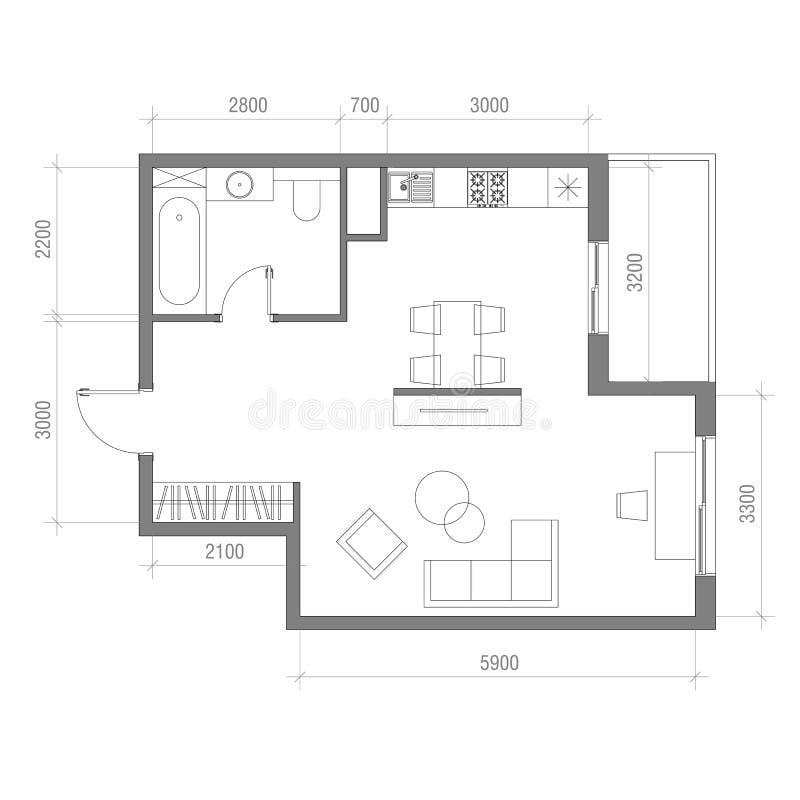 Architecturaal Vloerplan Met Afmetingen Zitslaapkamer