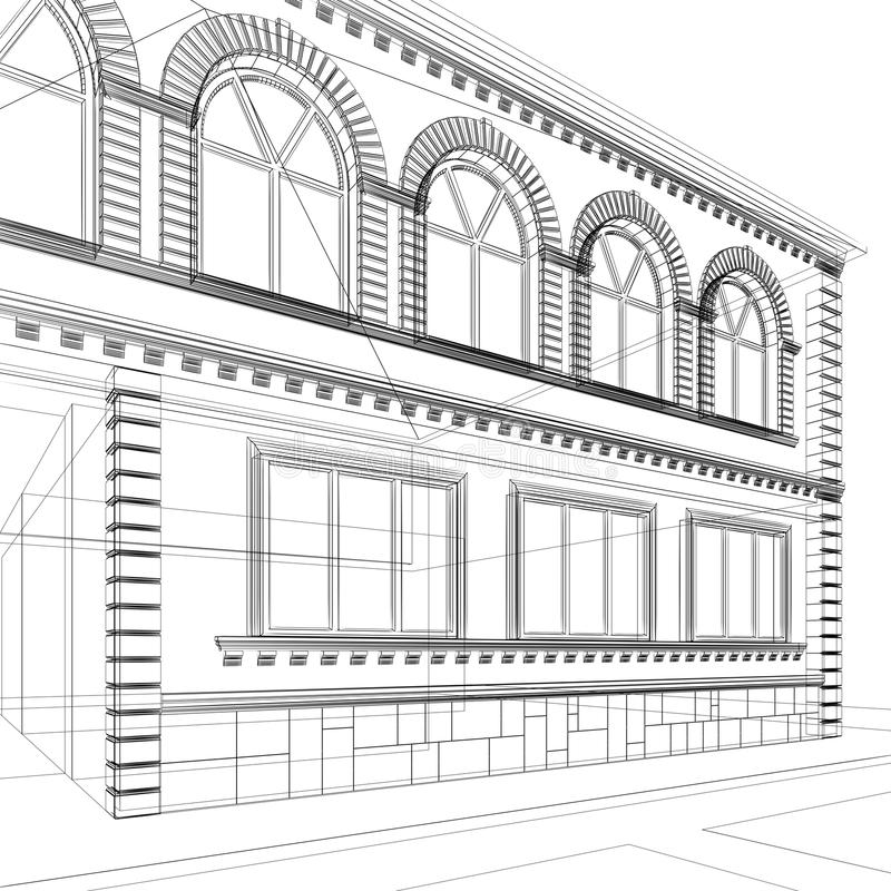 Architectural abstract sketch royalty free illustration