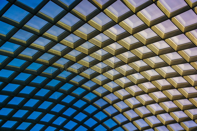 Architectural abstract taken of the ceiling at the Kogod Courty. Ard at the National Portrait Gallery in Washington, DC royalty free stock photo