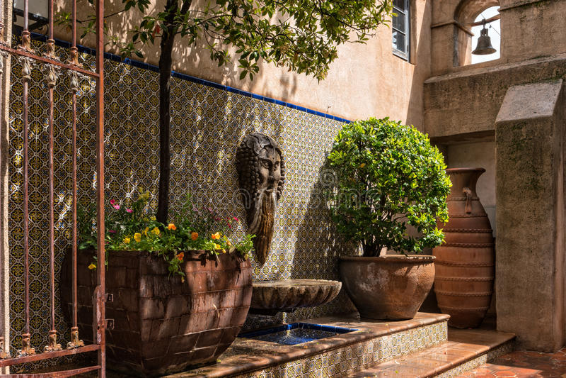 Architectural adornment, Tlaquepaque in Sedona, Arizona. Peaceful, inviting surroundings at Tlaquepaque, Sedona, Arizona royalty free stock image