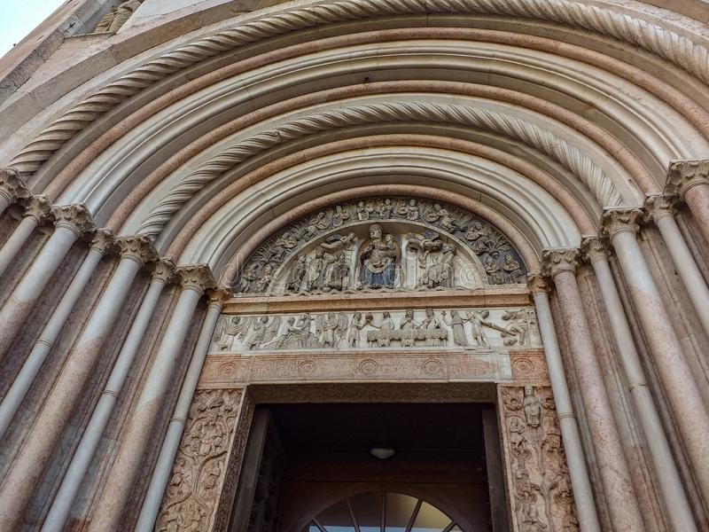 Architectural and artistic details of the monuments of the city of Parma. stock images