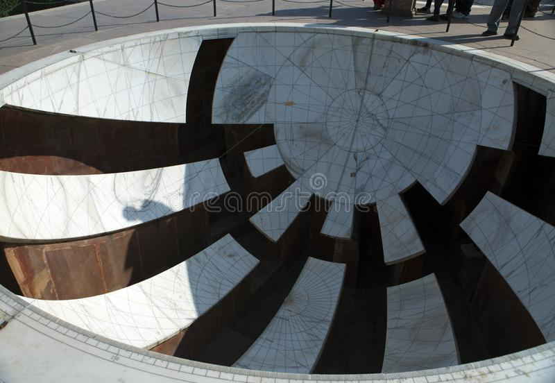 Architectural astronomical instruments in Jantar Mantar observatory completed in 1734, Jaipur, India.  royalty free stock photo