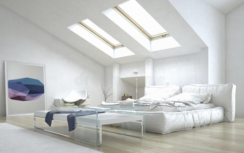 Architectural Bedroom with Glass Table royalty free illustration