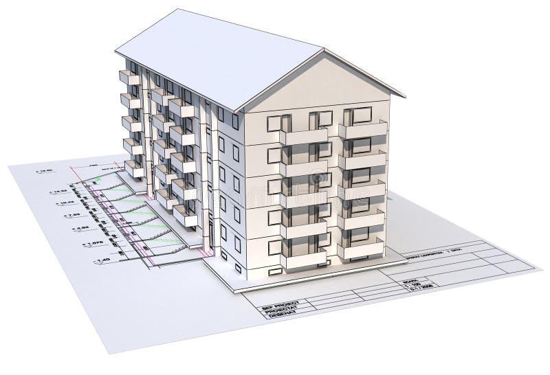Architectural blueprint royalty free illustration