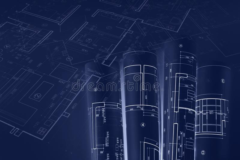 Architectural blueprint rolls, technical plan drawings. blue ton vector illustration