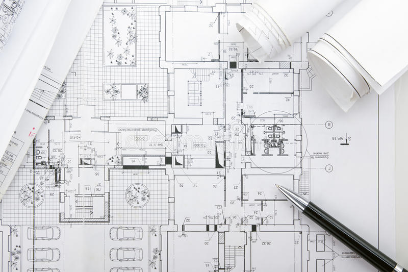 Architectural blueprints and blueprint rolls on white background download architectural blueprints and blueprint rolls on white background stock image image of blueprint malvernweather Images