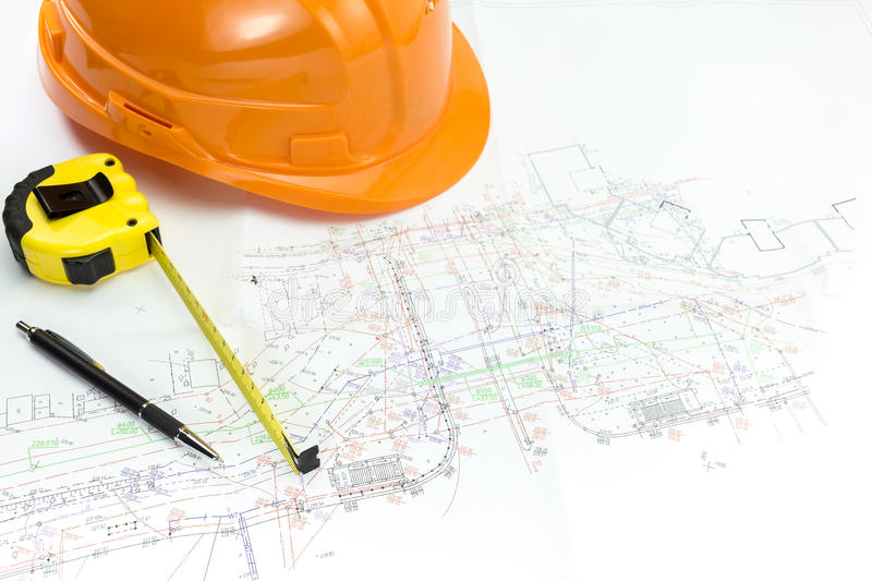 Architectural blueprints and safety royalty free stock photography