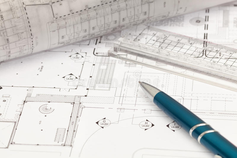 Architectural cad drawing. On working table stock image