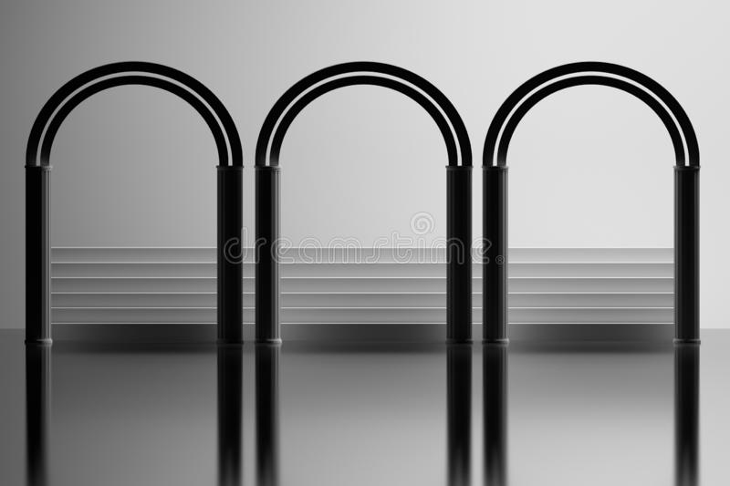 Architectural composition with three arches stairs on mirror surface. Simple minimalist architectural composition with three arches and stairs on mirror surface vector illustration