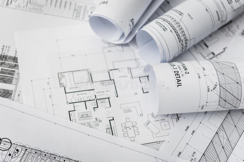 Architectural for construction drawings stock image image of architectural for construction drawings with roll of blueprint malvernweather Choice Image