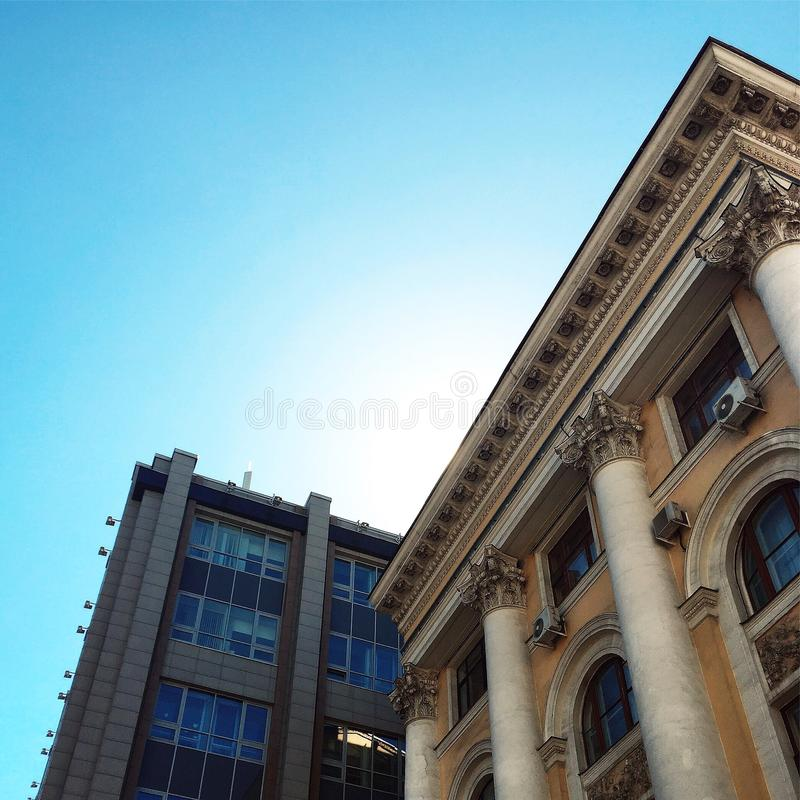 Architectural contrast. Contrast in different styles and types of architecture in Moscow royalty free stock photos