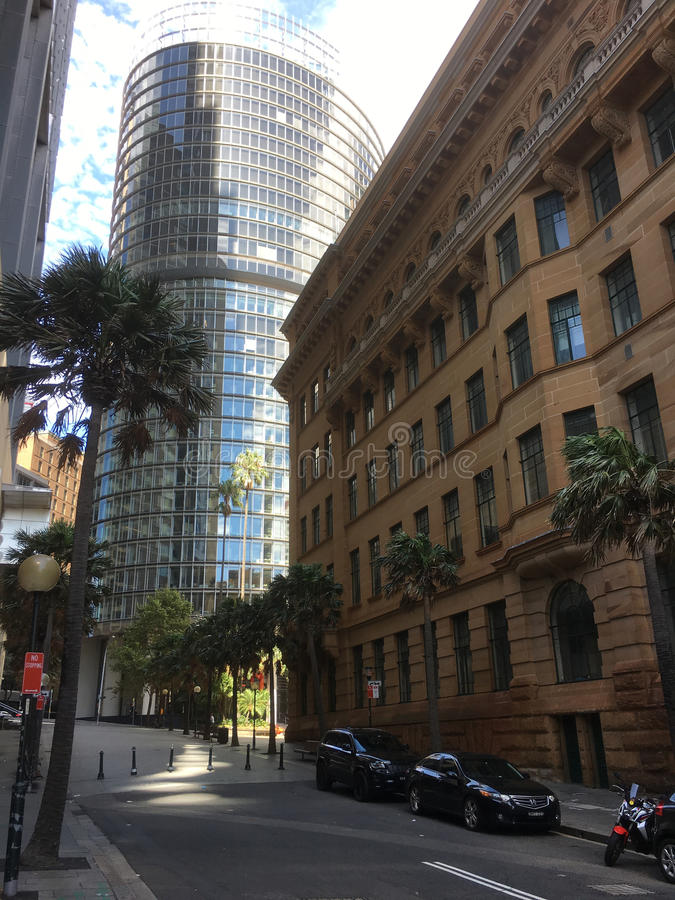 Architectural contrast. Two very different building styles in Sydney CBD stock photography