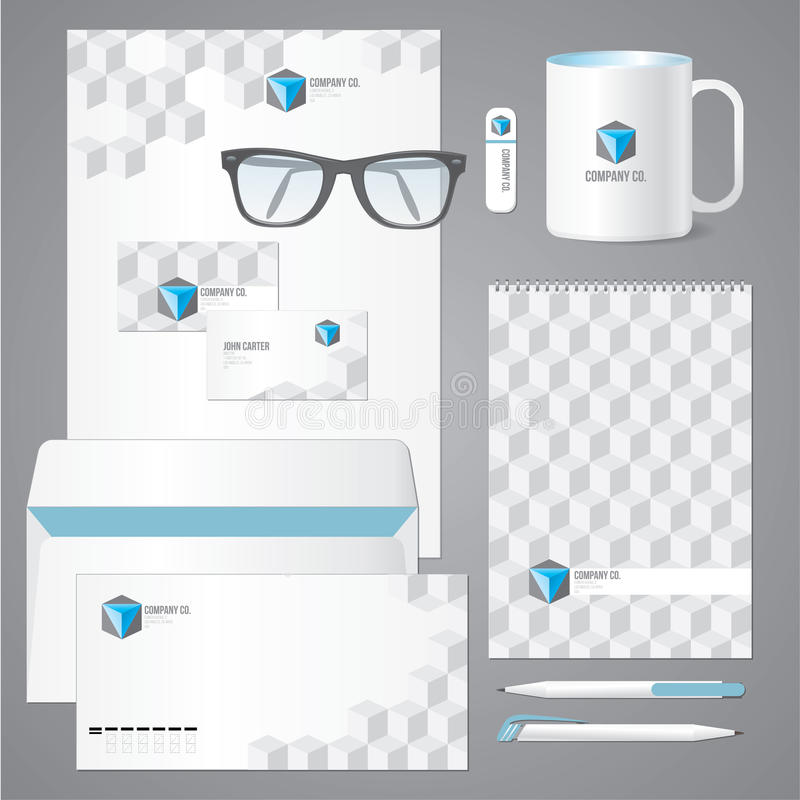 Architectural Corporate Identity Template With 3d Cube Pattern ...