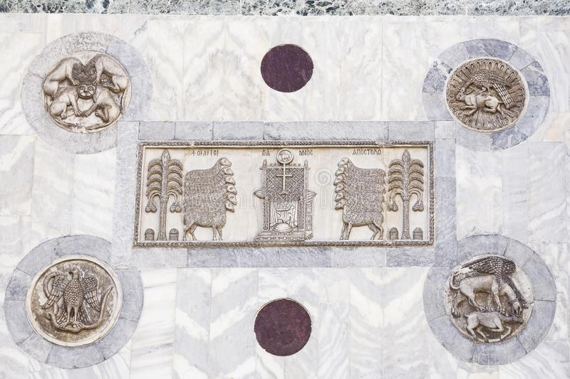 Architectural decoration on the facade of San Marco Cathedral in Venice royalty free stock images