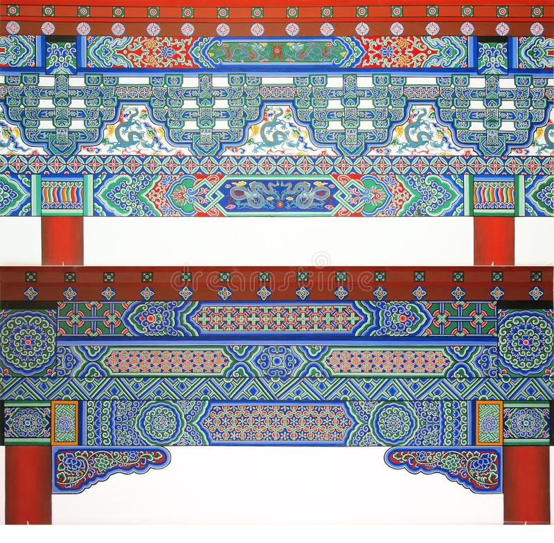 Architectural decorative patterns. The Chinese Yuan Dynasty ancient architectural decorative patterns royalty free stock photos