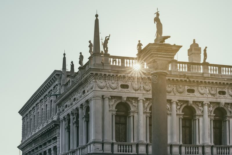 Venice architecture, San Marco square, buildings at sunset, Italy stock image