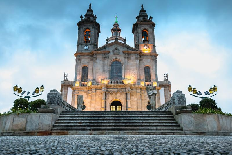 Architectural detail of the Basilica of Our Lady of Sameiro near Braga. At dusk royalty free stock photography