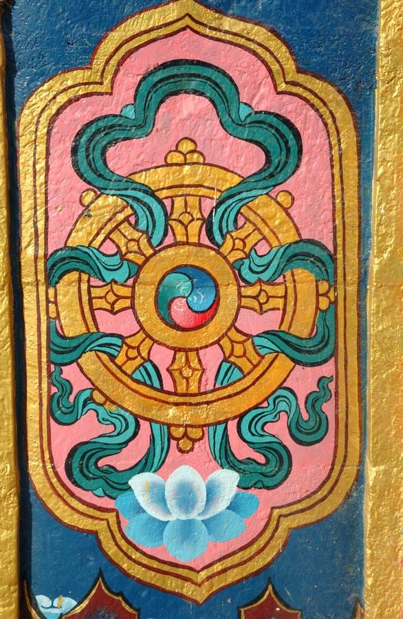 Architectural detail of buddhist monastery - dharma wheel stock photo