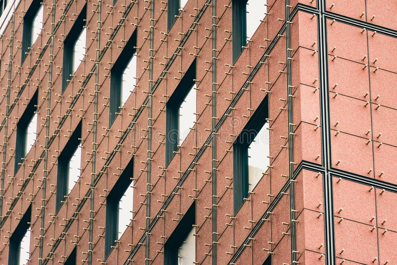 21 July 2018 - Architectural detail. Close up of the building facade of Japan center in Frankfurt, Germany stock images