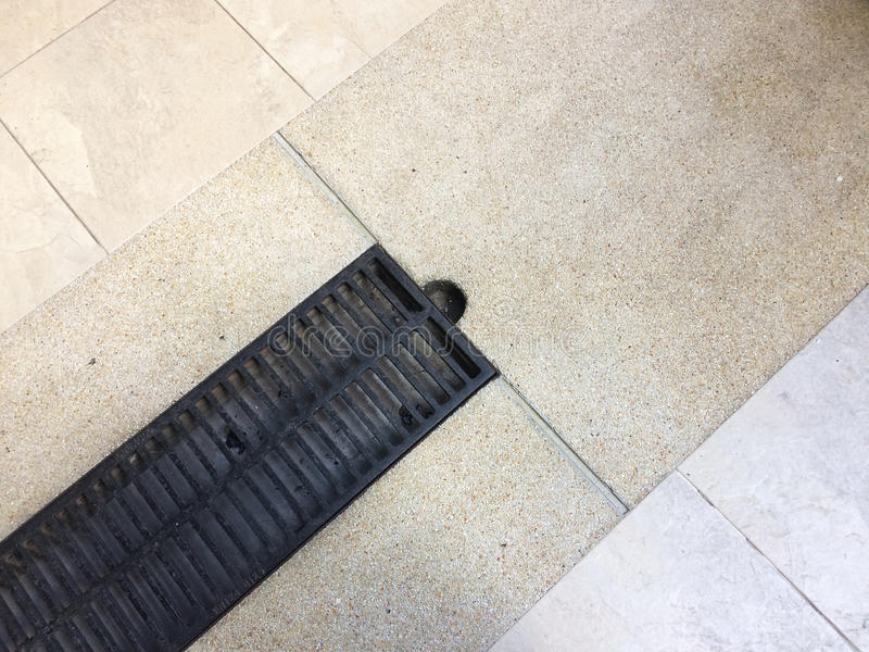 Architectural Detail Design of Steel grating drain. Architectural Detail Design of Steel grating drain covering the drainage gutter stock photos
