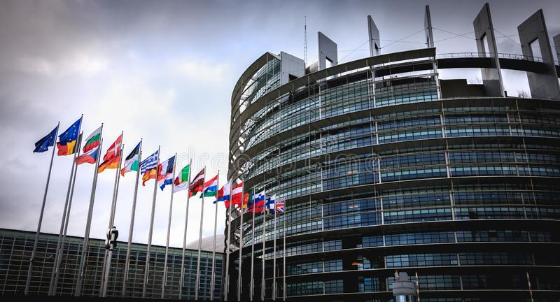 Architectural detail of the European Parliament on a winter day stock photography