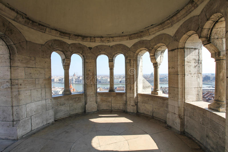 Architectural detail in Fisherman's Bastion in Budapest royalty free stock images
