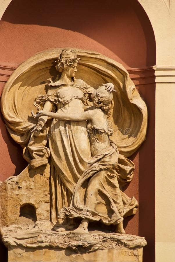 Architectural decoration of building in Prague, Czech Republic stock photo