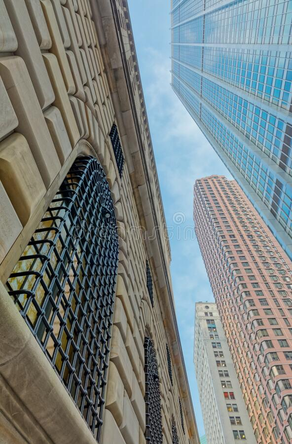 Architectural detail of Manhattan building facade, New York stock photos