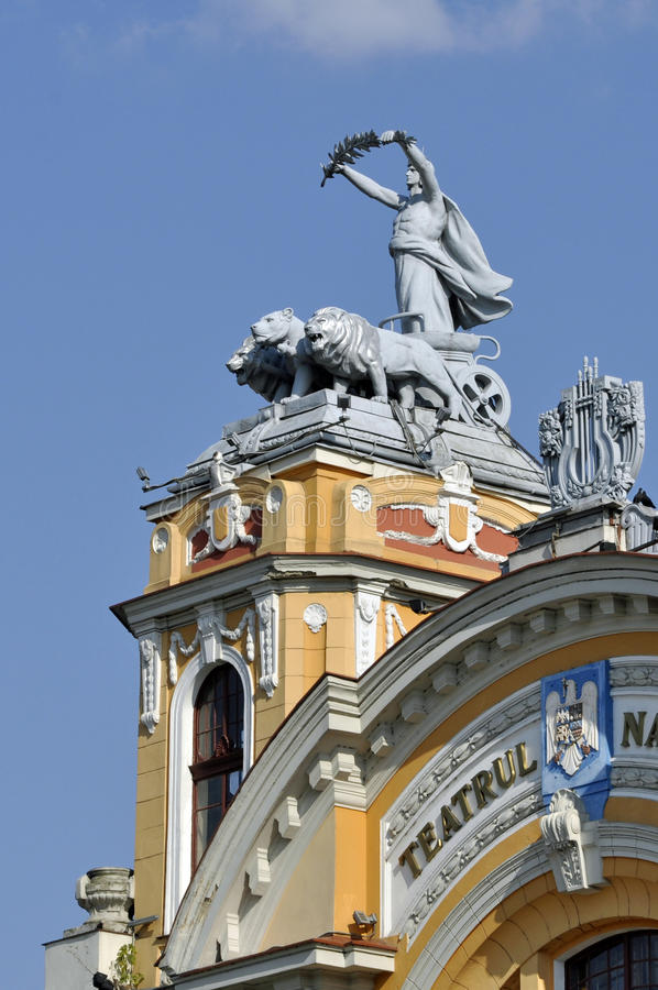 Architectural detail of the National Theatre of Cluj-Napoca, Romania