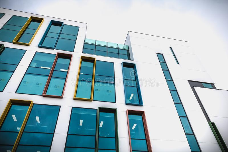 Architectural detail of a new building in the high tech district of Dublin stock photos