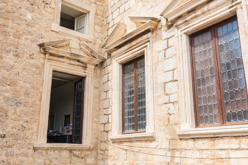 Architectural Detail Old European Fortress Windows Medieval Dubrovnik Croatia Open Office royalty free stock images