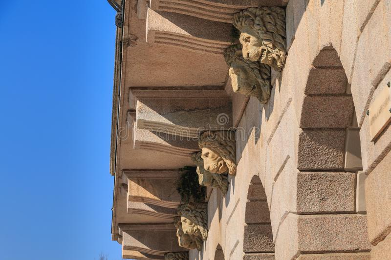 Architectural detail of one of the entrances to the Arena Civica stadium. Milan, Italy - November 03, 2017 : Architectural detail of one of the entrances to the royalty free stock photo