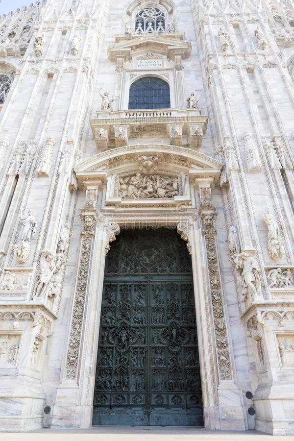Architectural detail from one of the front doors of Milan`s Dome royalty free stock photography