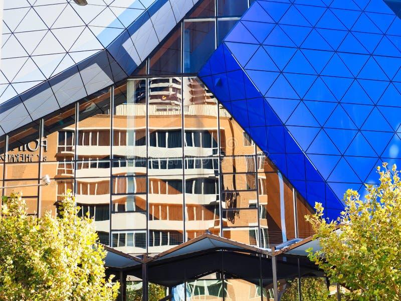 Architectural Detail, Modern Perth RAC Arena, Perth CBD, Western Australia stock photos