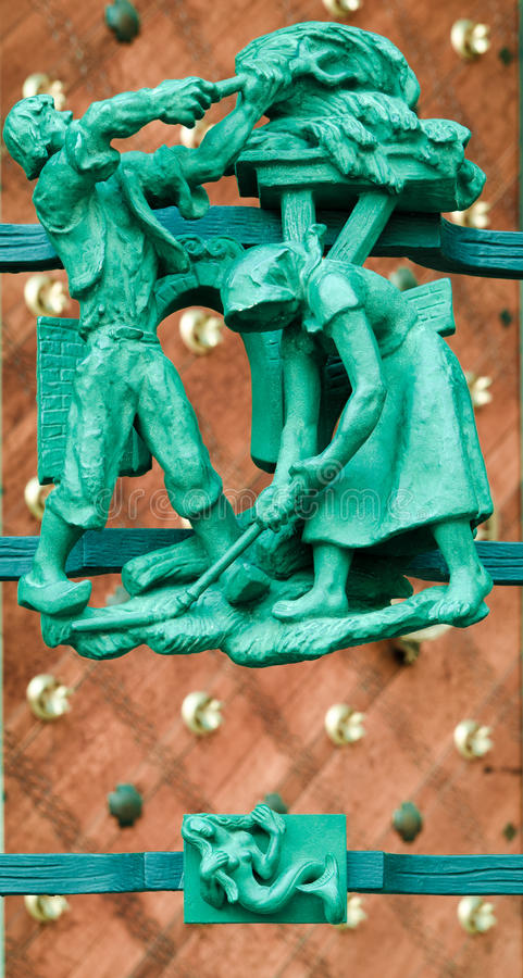 Architectural detail at Saint Vitius cathedral stock images