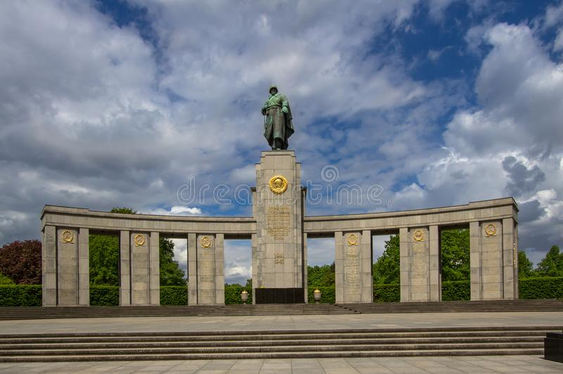 Soviet War Memorial in Tiergarten in central Berlin, Germany. Architectural detail of the Soviet War Memorial in Tiergarten in central Berlin stock photo