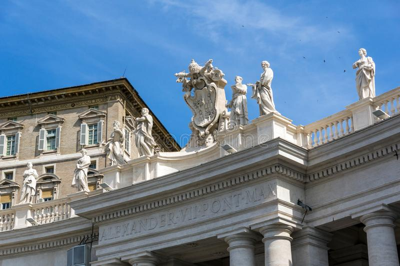 Architectural detail of St. Peter`s Basilica at Saint Peter`s Square, Vatican, Rome, Italy royalty free stock images