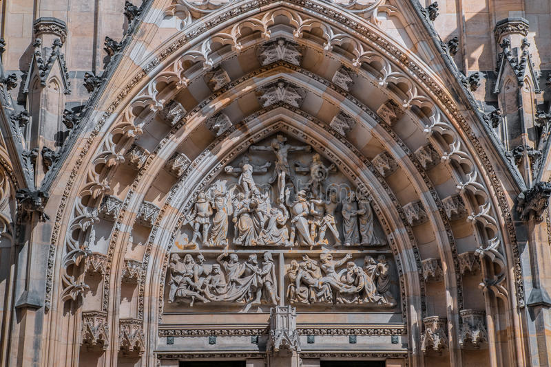 Architectural detail on St Vitus Cathedral in Prague Castle stock photos