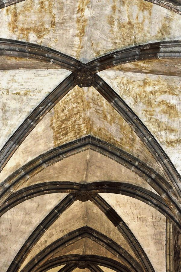 Detail of vault in old castle. Architectural detail of vault in old castle stock images